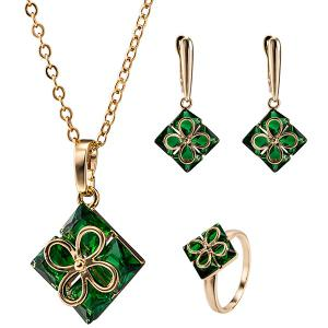 Ornate Square Clover Necklace Set - Green - 2xl