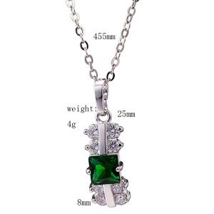 Zircon Rectangle Pendant Necklace Set - GREEN