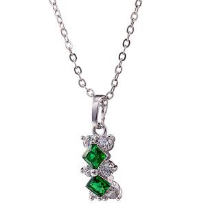 Rhombus Rhinestone Necklace Set - GREEN