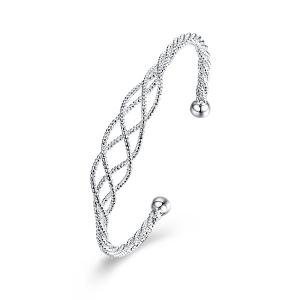 Twist Textured Chain Cuff Bracelet