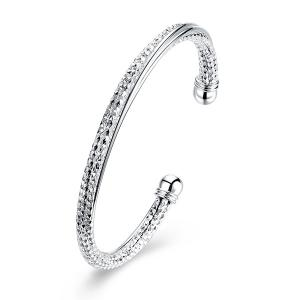 Textured Chain Ball Cuff Bracelet - Silver - One-size