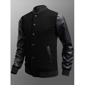Side Pocket Snap Button Up PU Insert Jacket