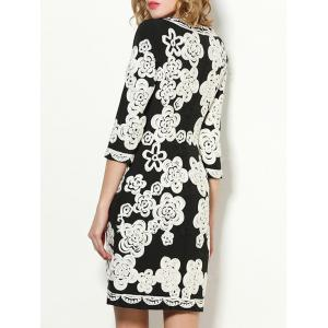 Fitted Flower Embroidered Dress -
