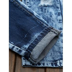 Plus Size Bleach Wash Patch and Holes Straight Leg Jeans -