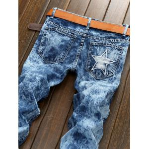 Plus Size Bleach Wash Patch and Holes Straight Leg Jeans - BLUE 38