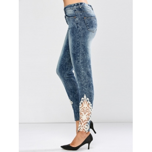 Crocheted Lace Insert Low Waist Jeans - BLUE L