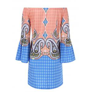 Bell Sleeve Colorful Patterned Bohemian Dress - COLORMIX 2XL