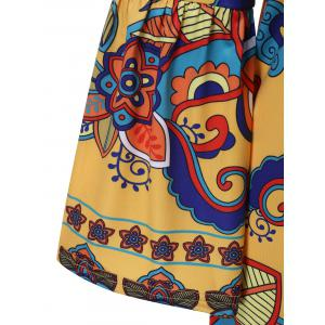 Bell Sleeve Patterned Bohemian Dress - YELLOW 2XL