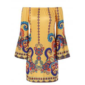 Bell Sleeve Patterned Bohemian Dress