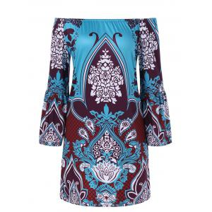 Bell Sleeve Ethnic Patterned Bohemian Dress