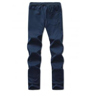 Comfortable Lace Up Embroidered Narrow Feet Pants - CADETBLUE 2XL