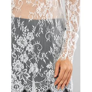 Lace Long Sleeve Sheer Tunic Cover-Up - WHITE XL