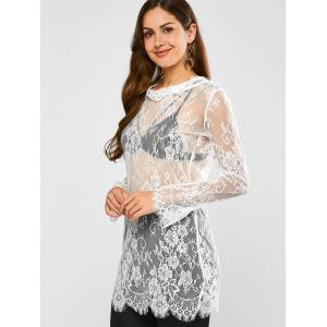 Lace Long Sleeve Sheer Tunic Cover-Up -