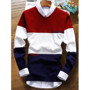 V Neck Color Striped Texture Sweater - Burgundy - 2xl