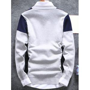 Inverted Triangle Crew Neck Flat Knitted Sweater - LIGHT GRAY 2XL