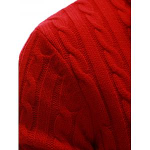 Stand Collar Twist Zip Up Cardigan - RED 2XL