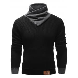 Zip Up High Neck Ribbed Pullover Sweater - Black - M
