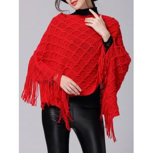 Fringe Asymmetric Sweater Poncho - RED ONE SIZE