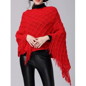 Fringe Asymmetric Sweater Poncho