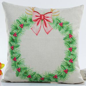 Festival Christmas Wreath Pillow Case