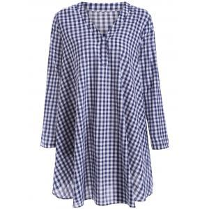 Long Sleeve Plaid Tunic Dress - Purplishblue + White - S