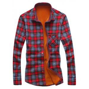 Turndown Collar Checked Print Flocking Shirt