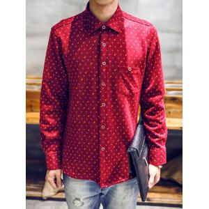 Turndown Collar Moustache and Tobacco Pipe Print Flocking Shirt - RED 3XL