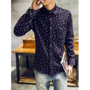 Turndown Collar Feather and Ink Dot Print Flocking Shirt -