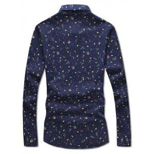 Turndown Collar Tiny Floral Print Flocking Shirt -