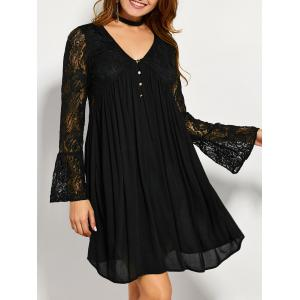 Lace Panel Long Sleeve A Line Tunic Dress