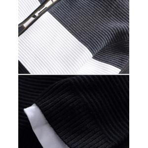 Stand Collar Color Block Rib Splicing Knit Blends Jacket -