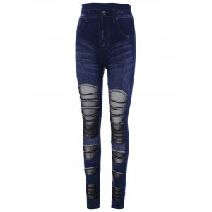 Mesh Insert Skinny High Waisted Jeggings