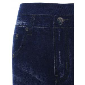 Mesh Insert Skinny High Waisted Jeggings - DEEP BLUE ONE SIZE