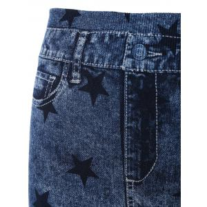 Star Print Skinny High Waisted Jeggings - BLUE ONE SIZE