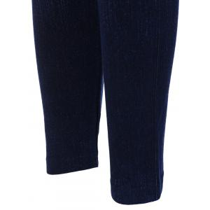 Print High Waisted Skinny Jeggings - DEEP BLUE ONE SIZE