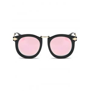 Cool Arrow Mark Oval Mirrored Sunglasses - PINK