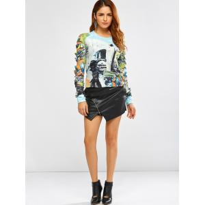 Punk 3D Print Ripped T-Shirt - CLOUDY S