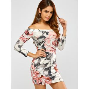 Long Sleeve Off Shoulder Floral Print Fitted Dress - WHITE XL