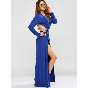 Plunge Backless Long Sleeve Maxi Prom Dress - BLUE XL