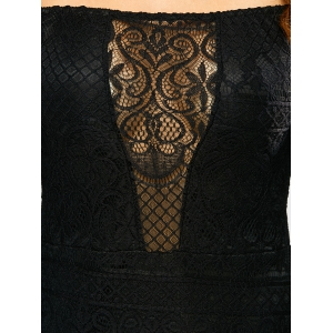 Lace Off Shoulder Bodycon Night Out Dress - BLACK XL