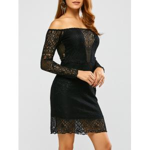 Lace Off Shoulder Bodycon Night Out Dress - Black - S