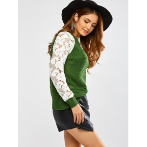 Floral Lace Insert Chunky Sweater - GREEN ONE SIZE