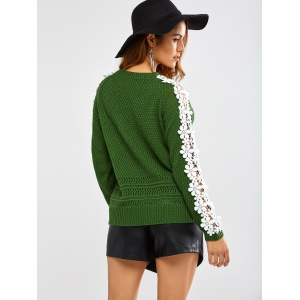 Lace Insert Chunky Sweater -
