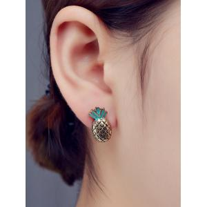 Pineapple Enamel Stud Earrings - Bronze-colored