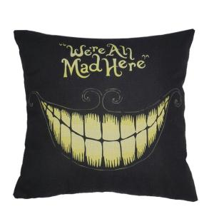 Halloween Teeth Pattern Sofa Cushion Linen Pillow Case - Black - 45*45cm