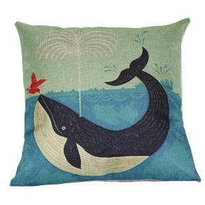 Cartoon Dolphin Printed Sofa Cushion Linen Pillow Case