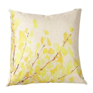 Fall Leaves Printed Sofa Cushion Linen Pillow Case - Beige - 43*43cm