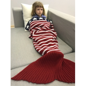 Winter American Flag Design Knitted Wrap Mermaid Blanket - Red - 150*90cm