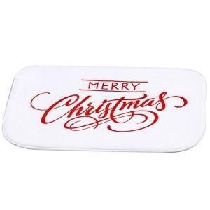 Coral Fleece Antiskid Soft Absorbent Christmas Doormat Carpet - WHITE