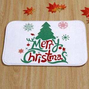 Merry Christmas Tree Antiskid Soft Absorbent Doormat Carpet - WHITE